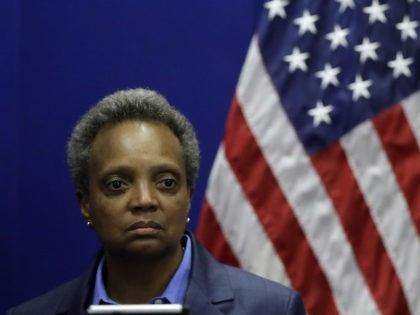 In this November 2019 file photo, Mayor Lori Lightfoot visits the Chicago Police Department's headquarters. (Joshua Lott/Getty Images)