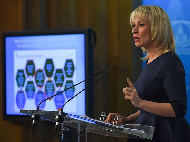 Russian Foreign Ministry spokeswoman Maria Zakharova speaks to the media in Moscow on March 2018. (Uri Kadobnov/AFP via Getty Images)