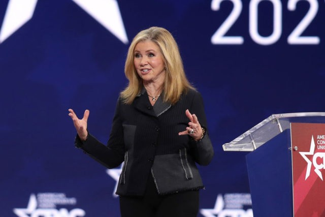 ORLANDO, FLORIDA - FEBRUARY 26: Sen. Marsha Blackburn (R-TN) addresses the Conservative Political Action Conference being held in the Hyatt Regency on February 26, 2021 in Orlando, Florida. Begun in 1974, CPAC brings together conservative organizations, activists, and world leaders to discuss issues important to them. (Photo by Joe Raedle/Getty …