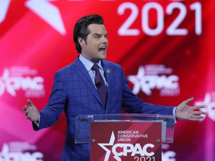 ORLANDO, FLORIDA - FEBRUARY 26: Rep. Matt Gaetz (R-FL) addresses the Conservative Political Action Conference being held in the Hyatt Regency on February 26, 2021 in Orlando, Florida. Begun in 1974, CPAC brings together conservative organizations, activists, and world leaders to discuss issues important to them. (Photo by Joe Raedle/Getty …