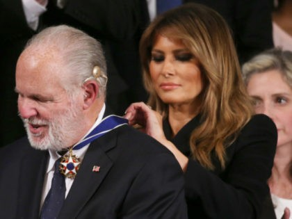 WASHINGTON, DC - FEBRUARY 04: Radio personality Rush Limbaugh reacts as First Lady Melania Trump gives him the Presidential Medal of Freedom during the State of the Union address in the chamber of the U.S. House of Representatives on February 04, 2020 in Washington, DC. President Trump delivers his third …
