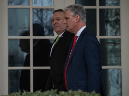 US Secretary of State Mike Pompeo and National Security Advisor Robert O'Brien walk at the White House in Washington, DC, on February 6, 2020. (Photo by NICHOLAS KAMM / AFP) (Photo by NICHOLAS KAMM/AFP via Getty Images)