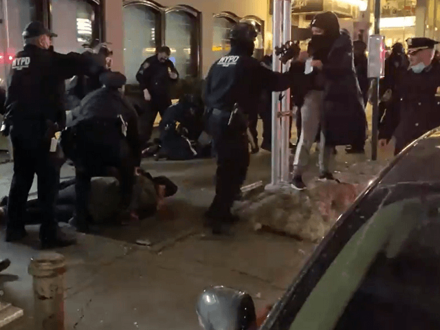NYPD arrests 11 during violent BLM protest on February 12. (Video Screenshot/New York Post)
