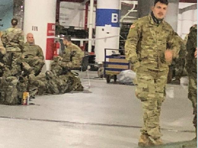 National Guard Take Breaks in D.C. Parking Garage