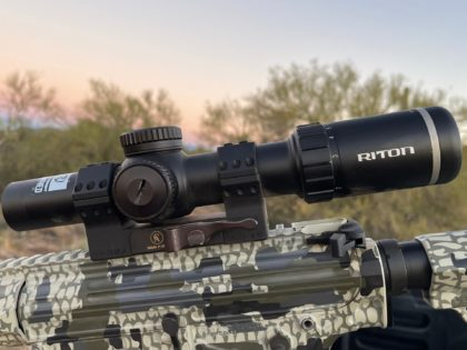 The RITON Optics X7 TACTIX riflescope is a 1-8 x 28 scope offering an illuminated reticle, compact design, and clear glass for longer range shots.
