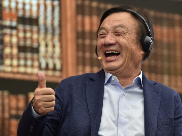 Huawei founder and CEO Ren Zhengfei gestures as he hosts a panel discussion on technology, markets and enterprise in Shenzhen, Guangdong province, on June 17, 2019. (Photo by HECTOR RETAMAL / AFP) (Photo credit should read HECTOR RETAMAL/AFP via Getty Images)