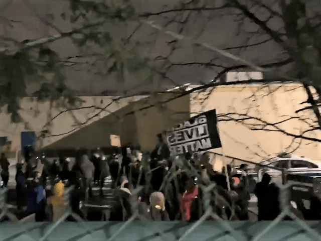 Protesters gather at police station in Rochester, New York, in response to police pepper-spraying a 9-year-old girl. (Twitter Video Screenshot/Jack Watson, News 8)