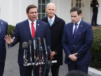 WASHINGTON, DC - JANUARY 22: Florida Governor Ron DeSantis speaks to the media while flanked by (L-R) Rep. Mario Diaz-Balart (R-FL), Sen. Rick Scott (R-FL) and Sen. Marco Rubio (R-FL), after a meeting with President Donald Trump regarding Venezuela on January 22, 2019 in Washington, DC. (Photo by Mark Wilson/Getty …