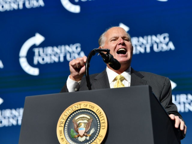 Rush Limbaugh speaks before US President Donald Trump takes the stage during the Turning Point USA Student Action Summit at the Palm Beach County Convention Center in West Palm Beach, Florida on December 21, 2019. (Photo by Nicholas Kamm / AFP) (Photo by NICHOLAS KAMM/AFP via Getty Images)