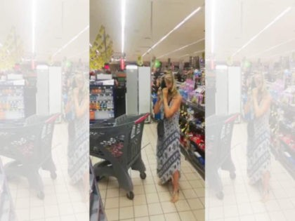 A woman appeared to use her thong as a mask while standing in line recently at a Pick n Pay supermarket in South Africa, as seen in this Facebook image from Sabrina Chiloane.