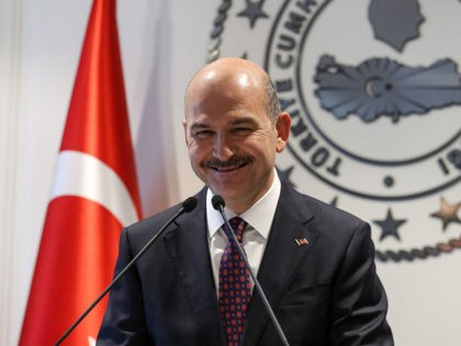 Turkish Interior Minister Suleyman Soylu delivers a speech during a press conference in Ankara, on April 22, 2019. (Photo by Adem ALTAN / AFP) (Photo credit should read ADEM ALTAN/AFP via Getty Images)
