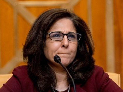 Neera Tanden, nominee for Director of the Office of Management and Budget (OMB), testifies during a Senate Committee on the Budget hearing on Capitol Hill in Washington, DC on February 10, 2021. (Andrew Harnik/POOL/AFP via Getty Images)