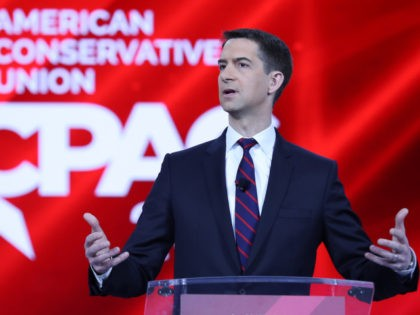 ORLANDO, FLORIDA - FEBRUARY 26: Sen. Tom Cotton (R-AR) addresses the Conservative Political Action Conference held in the Hyatt Regency on February 26, 2021 in Orlando, Florida. Begun in 1974, CPAC brings together conservative organizations, activists, and world leaders to discuss issues important to them. (Photo by Joe Raedle/Getty Images)