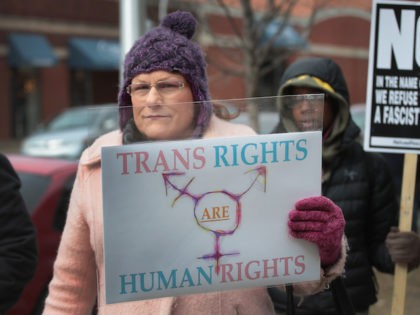 In this February 2017 file photo, Demonstrators protest for transgender rights in Chicago, Illinois. The demonstrators were angry with the Trump Administrations decision to reverse the Obama-era policy requiring public schools to allow transgender students to use the bathroom of their choice. (Scott Olson/Getty Images)