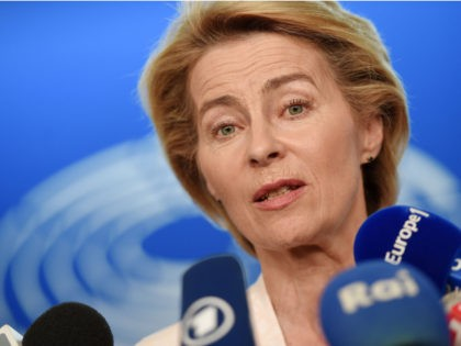 German Defence Minister and newly-appointed EU commission Ursula von der Leyen speaks to journalists during the first plenary session of the newly elected European Assembly at the European Parliament on July 03, 2019 in Strasbourg, eastern France. (Photo by FREDERICK FLORIN / AFP) (Photo by FREDERICK FLORIN/AFP via Getty Images)
