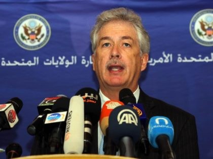 In this April 2014 file photo, US Deputy Secretary of State William Burns gives a press conference in Tripoli during his visit to Libya. democratic, prosperous and secure country. (Mahmud Turkia/AFP via Getty Images)