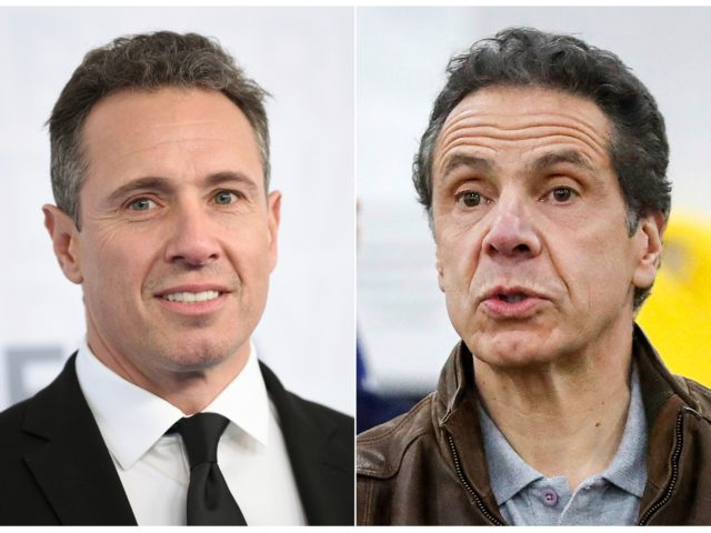 This combination photo shows CNN news anchor Chris Cuomo at the WarnerMedia Upfront in New York on May 15, 2019, left, and New York Gov. Andrew Cuomo speaking during a news conference in New York on March 23, 2020. The love, drama and comedy of New York's Cuomo brothers is …
