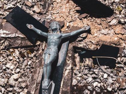 Broken crucifix.