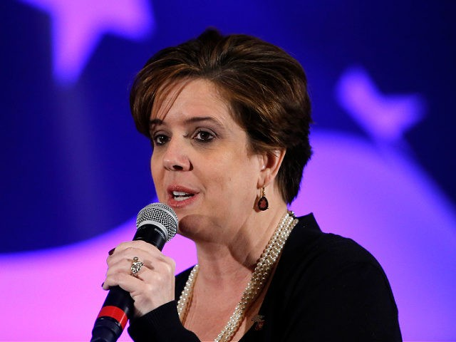New Hampshire GOP Chair Jennifer Horn speaks Saturday, Jan. 23, 2016, at the New Hampshire Republican State Committee town hall in Nashua, N.H. (AP Photo/Matt Rourke)