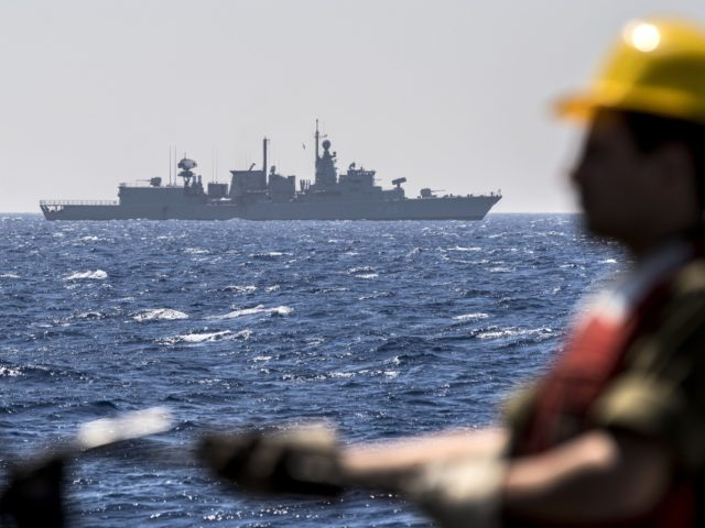 """A Greek vessel HS Limnos (type """"S"""" frigate) is seen during the """"Novel Dina 17"""" training session in the Mediterranean Sea on April 4, 2017. Israel's navy had historically been one of the smaller and less well-known parts of its military. Although more than 90 percent of Israels imports come …"""