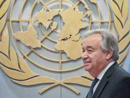 United Nations Secretary-General Antonio Guterres awaits the arrival of Netherland's Minister for Foreign Affairs Stephanus Abraham Blok at U.N. headquarters, Thursday, May 23, 2019. (AP Photo/Bebeto Matthews)