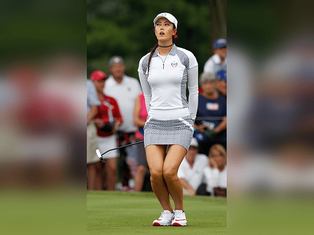 United States' Michelle Wie reacts after missing a putt on the eighth green during her foursomes match in the Solheim Cup golf tournament, Saturday, Aug. 19, 2017, in West Des Moines, Iowa. (AP Photo/Charlie Neibergall)