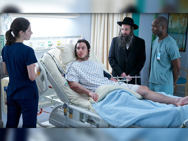 Natasha Calis as Ashley Collins, Sam Kantor as Ezriel, Alex Poch-Goldin as Toviyah, Dwight Ireland as Dr. McGowan. (Ken Woroner/eOne/NBC)
