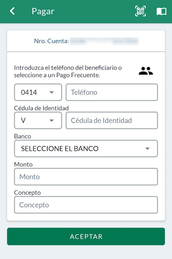 One of the several apps banks have come up with to quickly move millions of Bolivars between people.