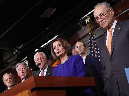 WASHINGTON, DC - MAY 22: Speaker of the House Nancy Pelosi (C) (D-CA) speaks at a press conference with Senate Minority Leader Chuck Schumer (R) (D-NY) at the U.S. Capitol following an aborted White House meeting with U.S. President Donald Trump on infrastructure legislation on May 22, 2019 in Washington, …