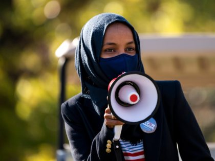 MINNEAPOLIS, MN - NOVEMBER 03: Congressional candidate Rep. Ilhan Omar (D-MN) speaks during a get out the vote event on the University of Minnesota campus on November 3, 2020 in Minneapolis, Minnesota. After a record-breaking early voting turnout, Americans head to the polls on the last day to cast their …