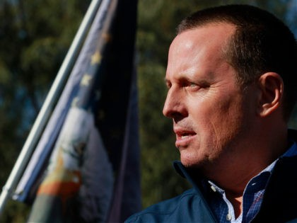 Former Director of National Intelligence Ric Grenell speaks to the news media during a press conference by members of Donald J. Trump for President, Inc., outside Clark County Election Department on November 5, 2020, in North Las Vegas. (Photo by Ronda Churchill / AFP) (Photo by RONDA CHURCHILL/AFP via Getty …