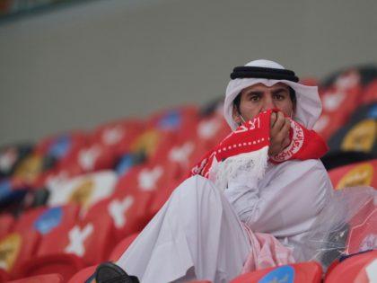 DOHA, QATAR - DECEMBER 18: Al Arabi fan looks dejected after the Emir Cup Final between Al Sadd against Al Arabi at Al Rayyan Stadium on December 18, 2020 in Doha, Qatar. (Photo by Simon Holmes/Getty Images