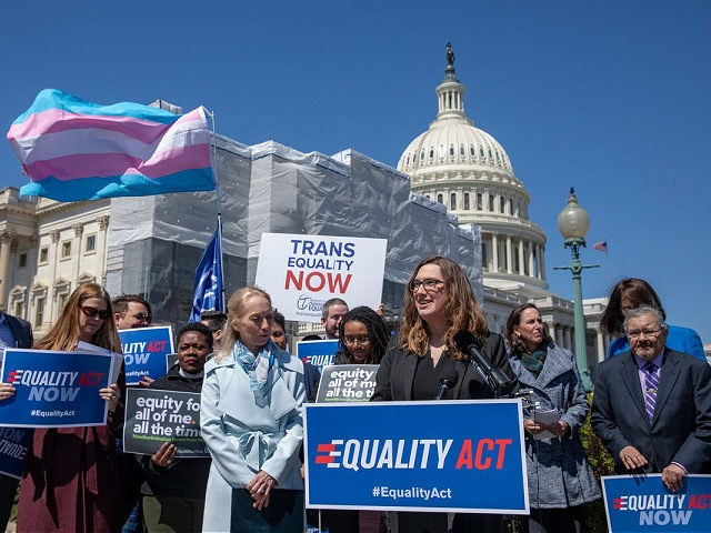WASHINGTON, DC - APRIL 01: Sarah McBride, National Press secretary of Human Rights Collation speaks on introduction of the Equality Act, a comprehensive LGBTQ non-discrimination bill at the US Capitol on April 01, 2019 in Washington, DC. Ahead of International Transgender Day of Visibility, a bipartisan majority of the U.S. …