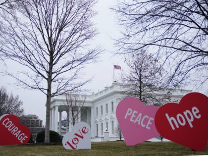 Valentine's Day messages decorate the North Lawn of the White House in Washington, DC on February 12, 2021. (Photo by MANDEL NGAN / POOL / AFP) (Photo by MANDEL NGAN/POOL/AFP via Getty Images)