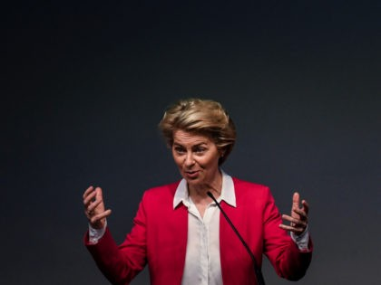 European Commission President Ursula Von Der Leyen delivers a speech during the presentation of Europe's Recovery and Resilience Plan at the Champalimaud Foundation in Lisbon on September 29, 2020. (Photo by PATRICIA DE MELO MOREIRA / AFP) (Photo by PATRICIA DE MELO MOREIRA/AFP via Getty Images)