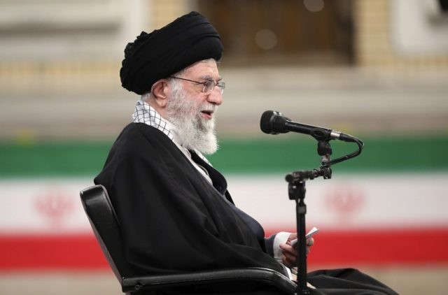 In this picture released by the official website of the office of the Iranian supreme leader, Supreme Leader Ayatollah Ali Khamenei speaks during a meeting with army's air force and air defense staff in Tehran, Iran, Sunday, Feb. 7, 2021. Iran's supreme leader said the U.S. must lift all sanctions …