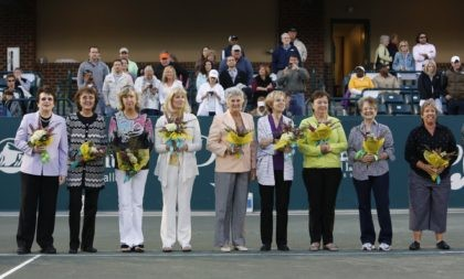In this April 7, 2012, file photo, members of the original nine women, from left to right, Billie Jean King, Peaches Bartkowicz, Kristy Pigeon, Valerie Ziegenfuss, Judy Tegart Dalton, Julie Heldman, Kerry Melville Reid, Nancy Richey and Rosie Casals, who helped start the women's professional tennis tour are honored at …
