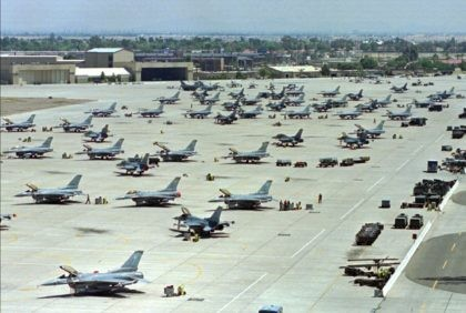 In this April 14, 1999, file photo, F-16 Fighting Falcons sit on the tarmac at Luke Air Force Base in Glendale, Calif. The U.S. Air Force says it will be distributing bottled water until at least April to thousands of residents and business owners near Luke Air Force Base in …