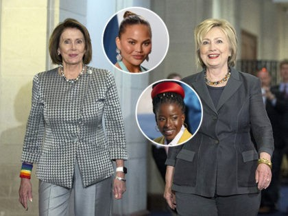 (INSETS: Chrissy Teigen, Amanda Gorman) FILE - In tho June 22, 2016, file photo, Democratic presidential candidate Hillary Clinton walks with House Minority Leader Nancy Pelosi of Calif., as they arrive for a meeting with the House Democratic Caucus on Capitol Hill in Washington. Clinton was miffed by Nancy Pelosi's …