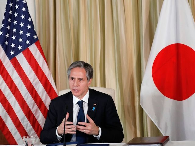 US Secretary of State Antony Blinken attends a virtual meet and greet with US embassy staff at the US Ambassador's residence in Tokyo on March 16, 2021. (Kim Kyung-Hoon/POOL/AFP via Getty Images)