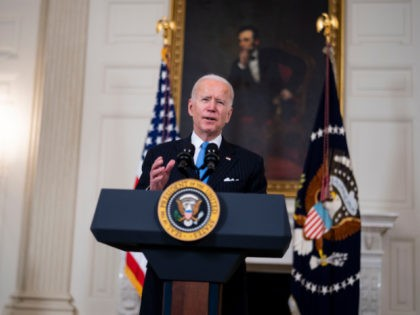 WASHINGTON, DC - MARCH 2: U.S. President Joe Biden speaks in the State Dining Room of the White House on March 2, 2021 in Washington, DC. President Biden spoke about the recently announced partnership between Johnson & Johnson and Merck to produce more J&J COVID-19 vaccine. (Photo by Doug Mills-Pool/Getty …