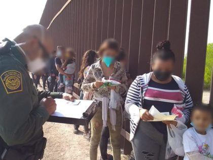 March 2021. Border Patrol agents process large groups of migrant families and unaccompanied minors in the RGV sector. (Photo: U.S. Border Patrol/Rio Grande Valley Sector)