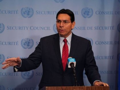 "Israel's Ambassador to the United Nations Danny Danon, speaks to the press at the United Nations Headquarters in New York on November 20, 2019 about the security situation in Israel prior to a Security Council meeting on the ""situation in the Middle East, including the Palestinian question."" (Timothy A. Clary/AFP …"