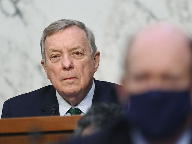 Chairman Senator Dick Durbin, D-IL, listens as FBI Director Christopher Wray testifies before the Senate Judiciary Committee on the January 6th insurrection, in the Hart Senate Office Building on Capitol Hill in Washington, DC on March 2, 2021. (Mandel Ngan/POOL/AFP via Getty Images)