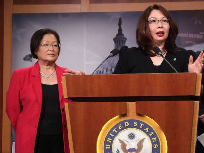 Sen. Mazie Hirono (D-HI), and Sen. Tammy Duckworth (D-IL), Sen. Richard Blumenthal (D-CT) and Sen. Catherine Marie Cortez Masto (D-NV) hold a news conference at the U.S. Captiol January 12, 2017 in Washington, DC. All three Democratic senators said they would vote against their colleague Sen. Jeff Sessions (R-AL) for …