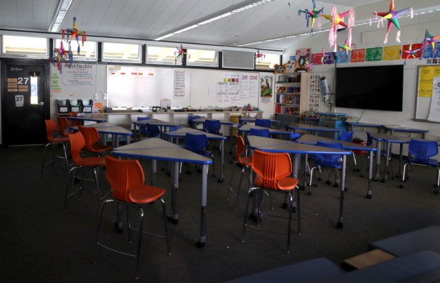 In this file photo, a classroom sits empty at Kent Middle School on April 01, 2020 in Kentfield, California. (Justin Sullivan/Getty Images)