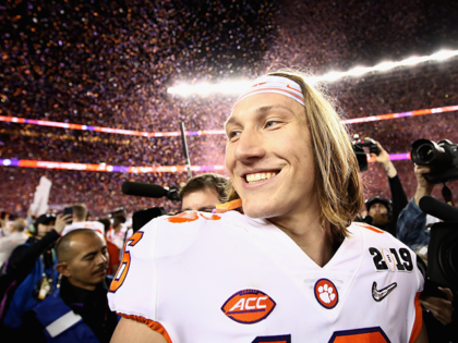 Trevor Lawrence #16 of the Clemson Tigers reacts after his teams 44-16 win over the Alabama Crimson Tide in the CFP National Championship presented by AT&T at Levi's Stadium on January 7, 2019 in Santa Clara, California. (Photo by Ezra Shaw/Getty Images)