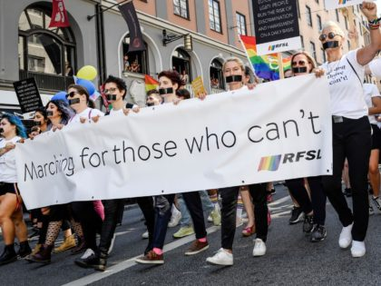 Supporters and members of the RFSL, the Swedish Federation for LGBTQ Rights and Civil Rights Defenders (CRD), hold placards and banners during the annual Stockholm Pride Parade in Stockholm, Sweden, on August 3, 2019. (Photo by Stina STJERNKVIST / TT NEWS AGENCY / AFP) / Sweden OUT (Photo credit should …