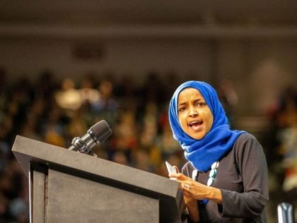 """Minnesota's Representative Ilhan Omar speaks to the crowd during a rally for Democratic presidential hopeful Vermont Senator Bernie Sanders at The Saint Paul River Centre on March 2, 2020 in Saint Paul, Minnesota, on the eve of """"Super Tuesday"""" Democratic presidential primaries. (Photo by Kerem Yucel / AFP) (Photo by …"""
