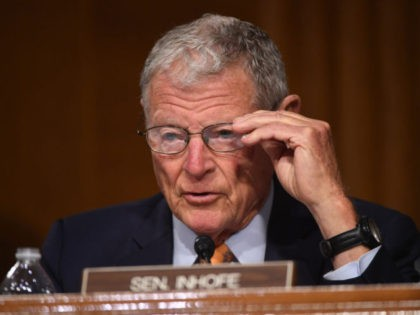 WASHINGTON, DC - MAY 20: Sen. James Inhofe (R-OK) makes opening remarks at a hearing titled Oversight of the Environmental Protection Agency in the Dirksen Senate Office Building on May 20, 2020 in Washington, DC. EPA Administrator Wheeler will face questions as his agency faces legal challenges and criticism for …